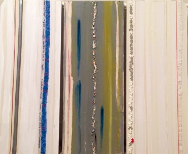 "Strips..., 2014, paper, acrylic, string, found objects on wood panels, 30"" x 36"""